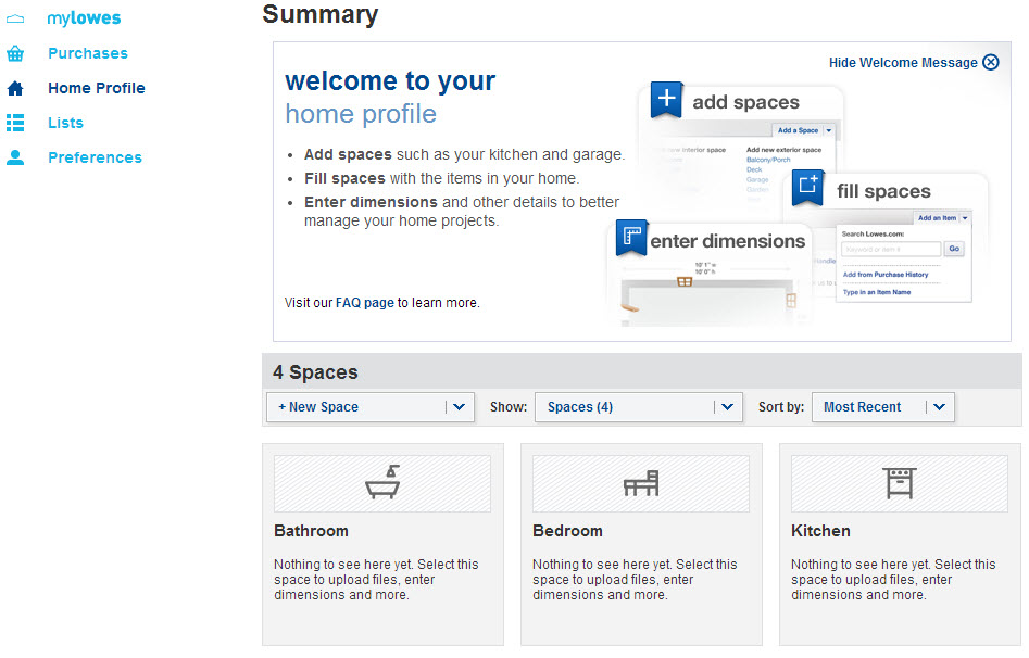 MyLowes Home Profile