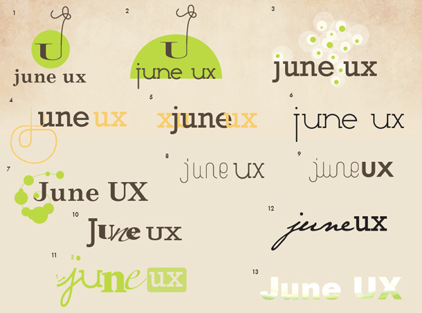 early versions of June UX logo