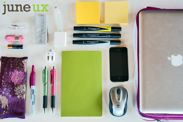 June UX laptop bag contents