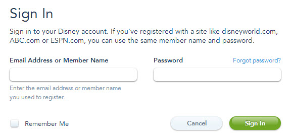 Disney Account Registration