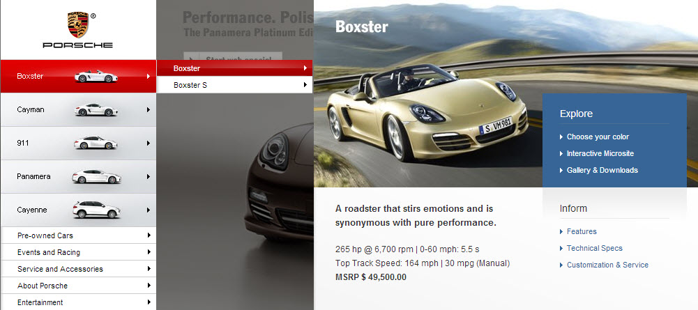 Porsche megamenu
