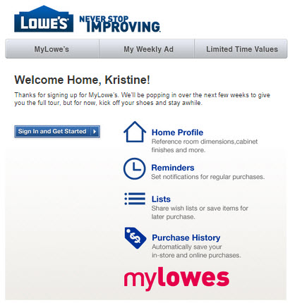 MyLowe's Confirmation Email