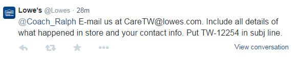 Lowe's Twitter response