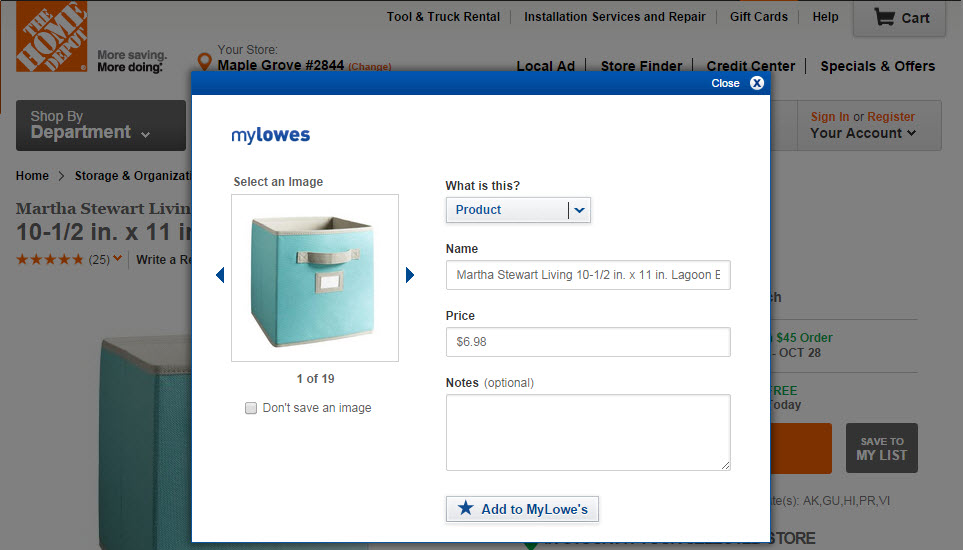 Save Product to MyLowe's