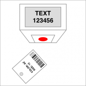 scanning garment tag in dressing room