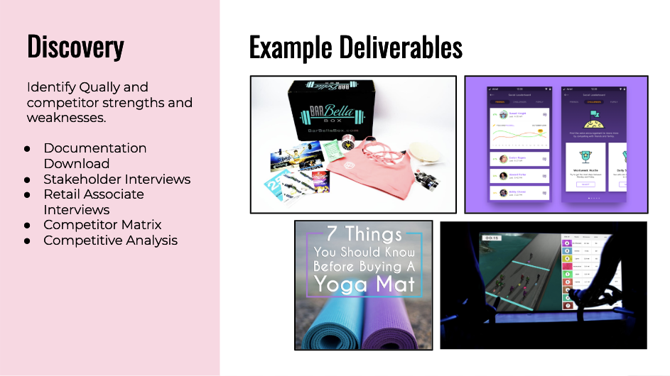 Discovery details and example deliverables.