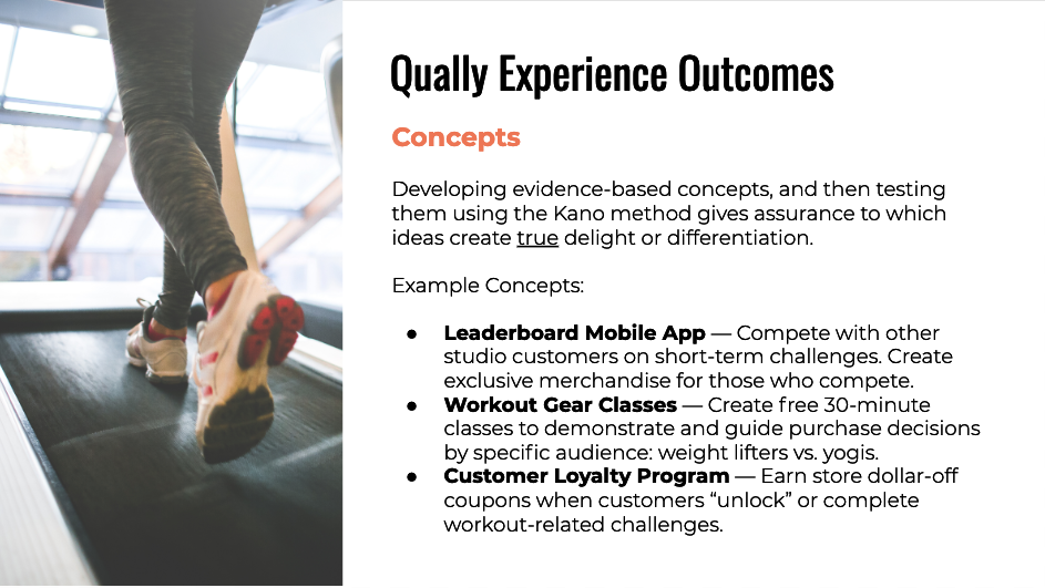 Qually experience outcomes: concepts.