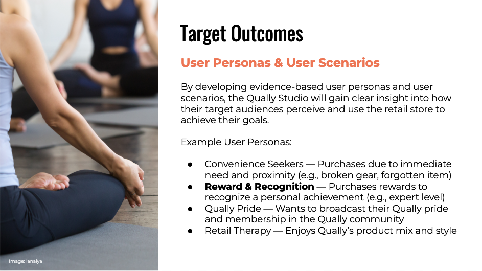 Target outcomes: user personas and user scenarios.
