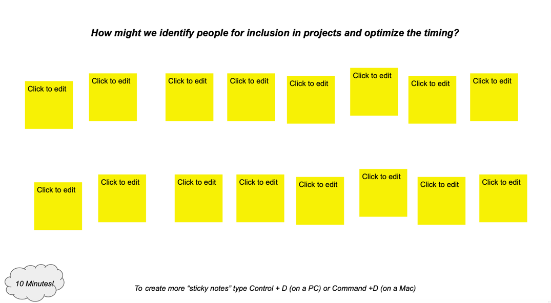 Google Slide with a question: How might we identify people for inclusion in projects and optimize the timing? Below the question are several blank sticky notes, ready to be populated by employees.